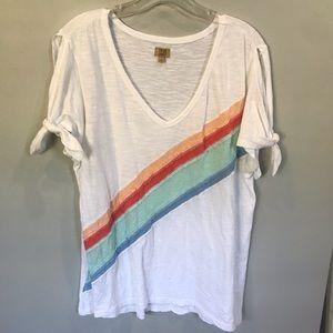 True craft 'rainbow' striped tie sleeve tee